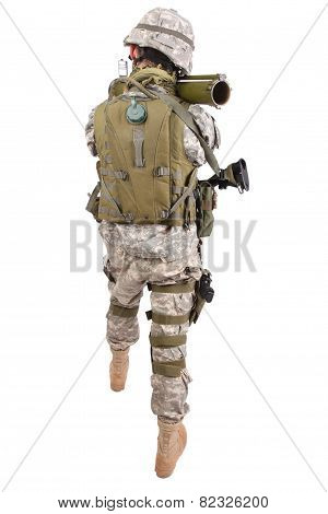 US soldier with anti-tank rocket launcher RPG on white background poster