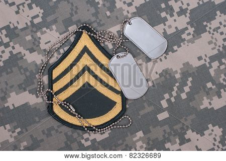 us army uniform with blank dog tags and sergeant rank patch poster