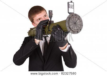 Man In Black Costume And Bazooka