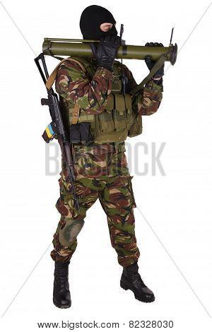 Ukrainian Volunteer With Rpg Grenade Launcher