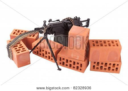 M249 machine gun on position isolated on white poster