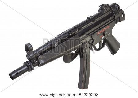 9mm submachine gun isolated on white background poster