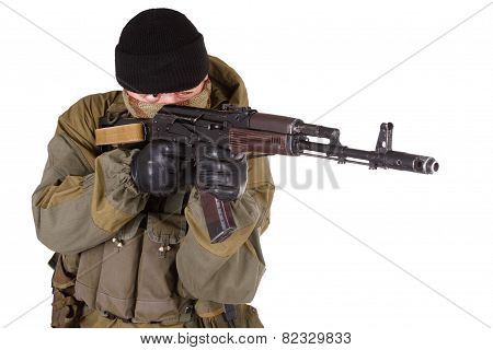 mercenary with kalashnikov rifle isolated on white background poster