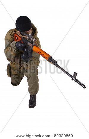 Mercenary Sniper With Svd Sniper Rifle