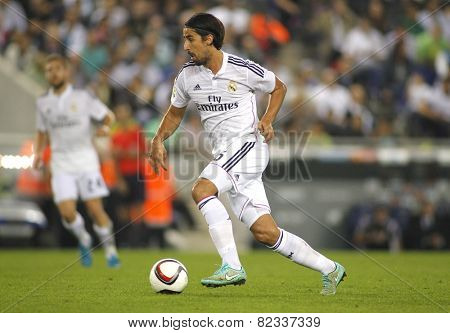 BARCELONA - OCT, 29: Sami Khedira of Real Madrid during the Spanish Kings Cup match against UE Cornella at the Estadi Cornella on October 29, 2014 in Barcelona, Spain