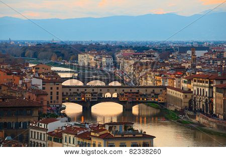 View of Ponte Vecchio in Florence tuscany. Italy poster