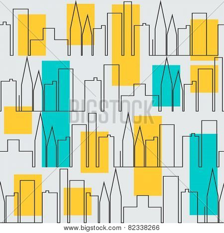 Seamless pattern with city houses in black and white