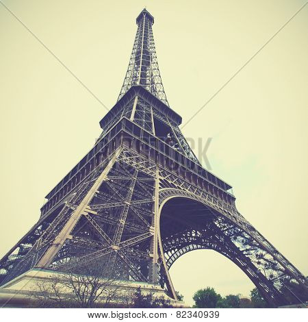 Eiffel Tower in Paris, France. Instagram style filtred image poster