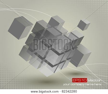 Floating 3d cube with moving segmented parts on light gray background and elegant curved lines. Vector illustration