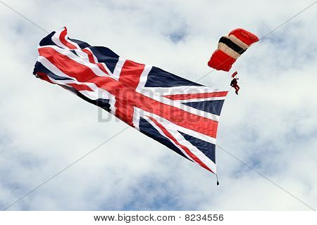 British flag flown by parachuter