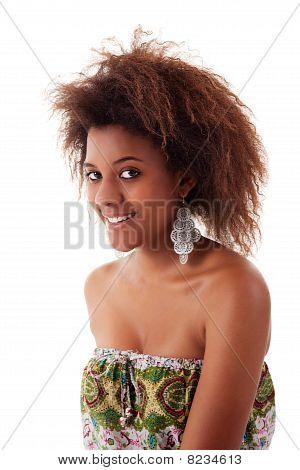 Beautiful Black  Woman, Smiling, Isolated On White Background