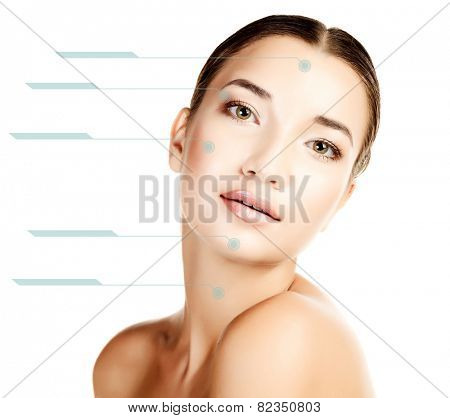 Beautiful girl with clean fresh skin, white background, copyspace.