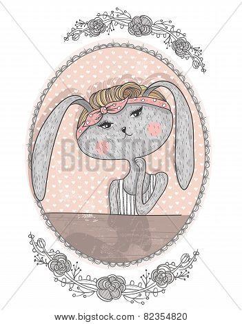 Cute Bunny Illustration For Children. Hipster Rabbit. Flower Frame.