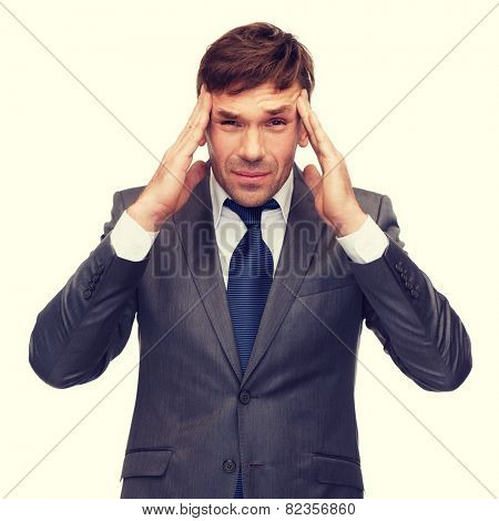 business and office, stress, problem, crisis concept - stressed buisnessman or teacher having headache poster