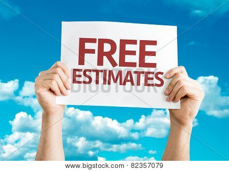 Free Estimates card with sky background