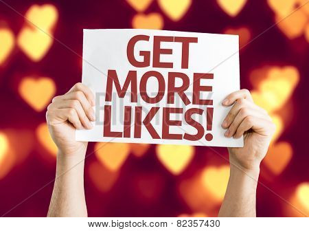 Get More Likes card with heart bokeh background