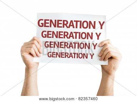 Generation Y card isolated on white background