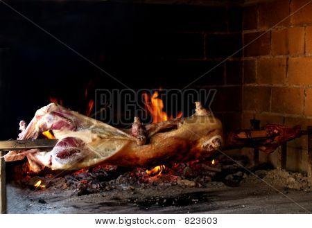 grilling  a lamb