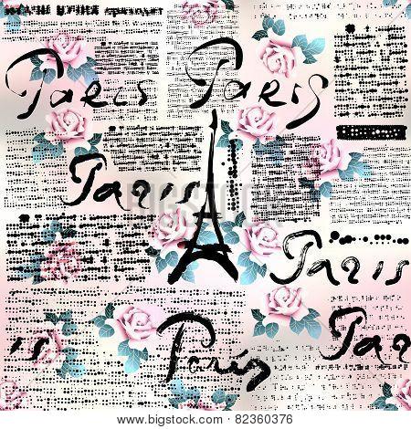 Newspaper Paris with roses.