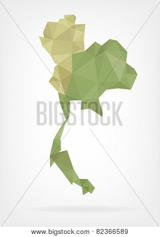 Low Poly map of Thailand