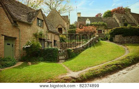Bibury. Cotswold stone cottages in  beautiful spring day.  England, UK.