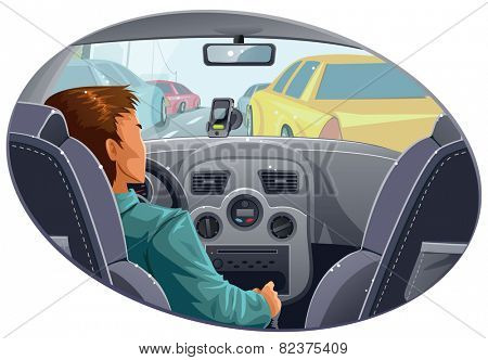 Guy in traffic with navigator on a dashboard