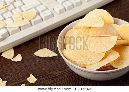 Potato Chips And Keyboard