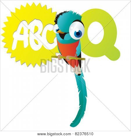 vector isolated cute happy big eyes abc animals: Q is for Quetzal