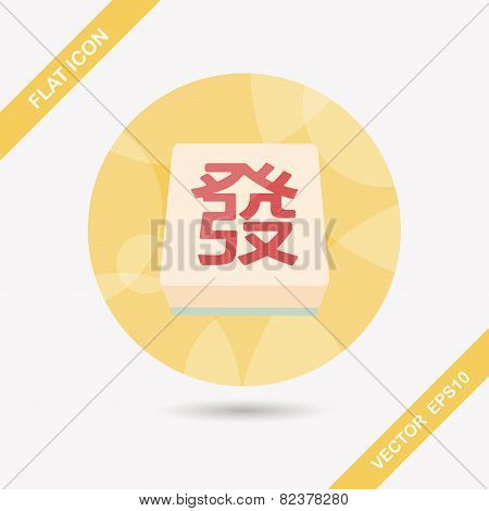 Chinese Mahjong Flat Icon With Long Shadow,eps10