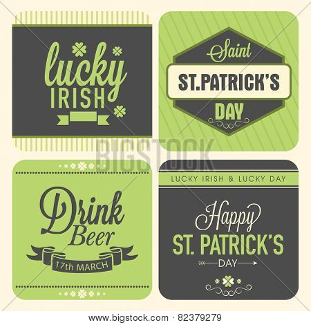 Vintage typographic sticker, tag or label design for Happy St. Patrick's Day celebration.