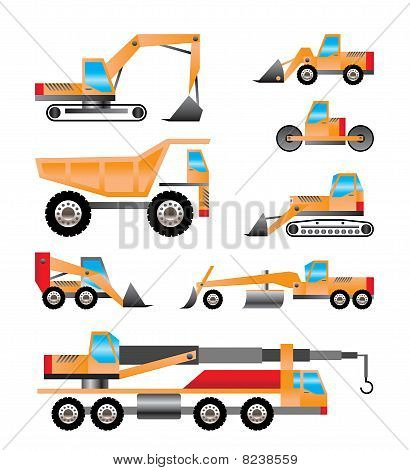 different types of trucks and excavators icons