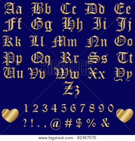 Old English Gold Alphabet Letters And Numbers