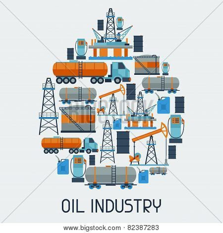 Industrial background design with oil and petrol icons.