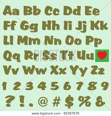 Green Letters With Red Hearts