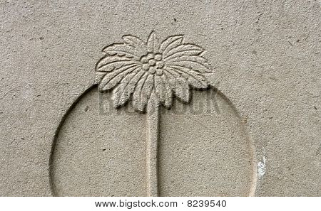 palm tree impression over concrete stone