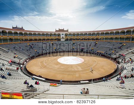 Plaza De Toros De Las Ventas Interior View With Tourists Gathering For The Bull Show In Madrid