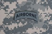 US ARMY airborne tab on camouflage uniform poster
