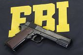 colt government m1911 handgun on fbi uniform poster