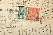 Queen Victoria postage stamps, Australia, Queensland. One penny Red stamp (1897-1911) and one half penny Green stamp.  poster