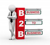 3d rendering of business person standing with b2b - business to business. 3d white people man character. poster