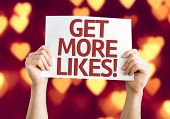 Get More Likes card with heart bokeh background poster