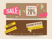 Sale website header or banner set with discount offer on all products. poster