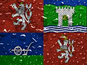 flag of Usti nad Labem Region with rain drops poster