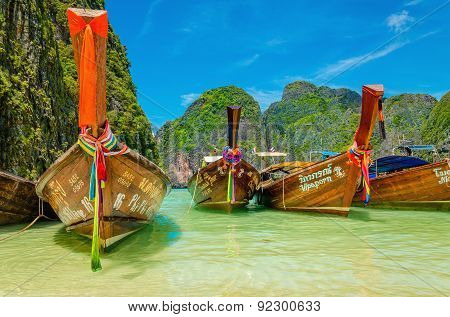 Colorful long tail boats, Maya Bay beach, Thailand