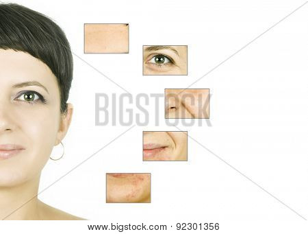 Woman's face, beauty concept - skin care, anti-aging procedures, rejuvenation, lifting, tightening of facial skin poster