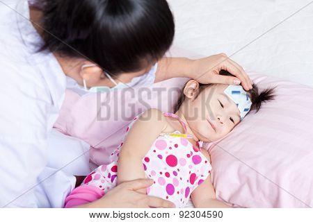 Sick Little Girl Nursed By A Pediatrician