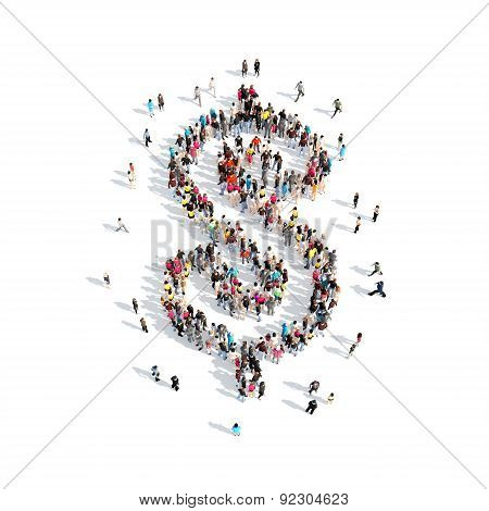 people in the shape of sign Dollar.