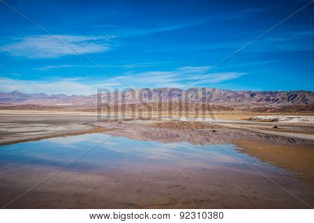 Pond Reflecting Death Valley Mountains