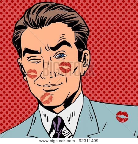 Traces of a kiss on the man face pop art retro