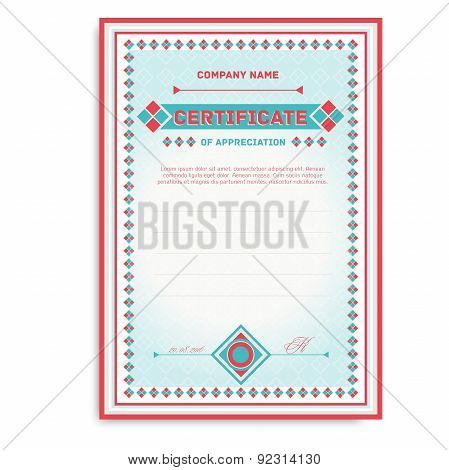 template certificates in soft colors with an ornament for the award or gift.